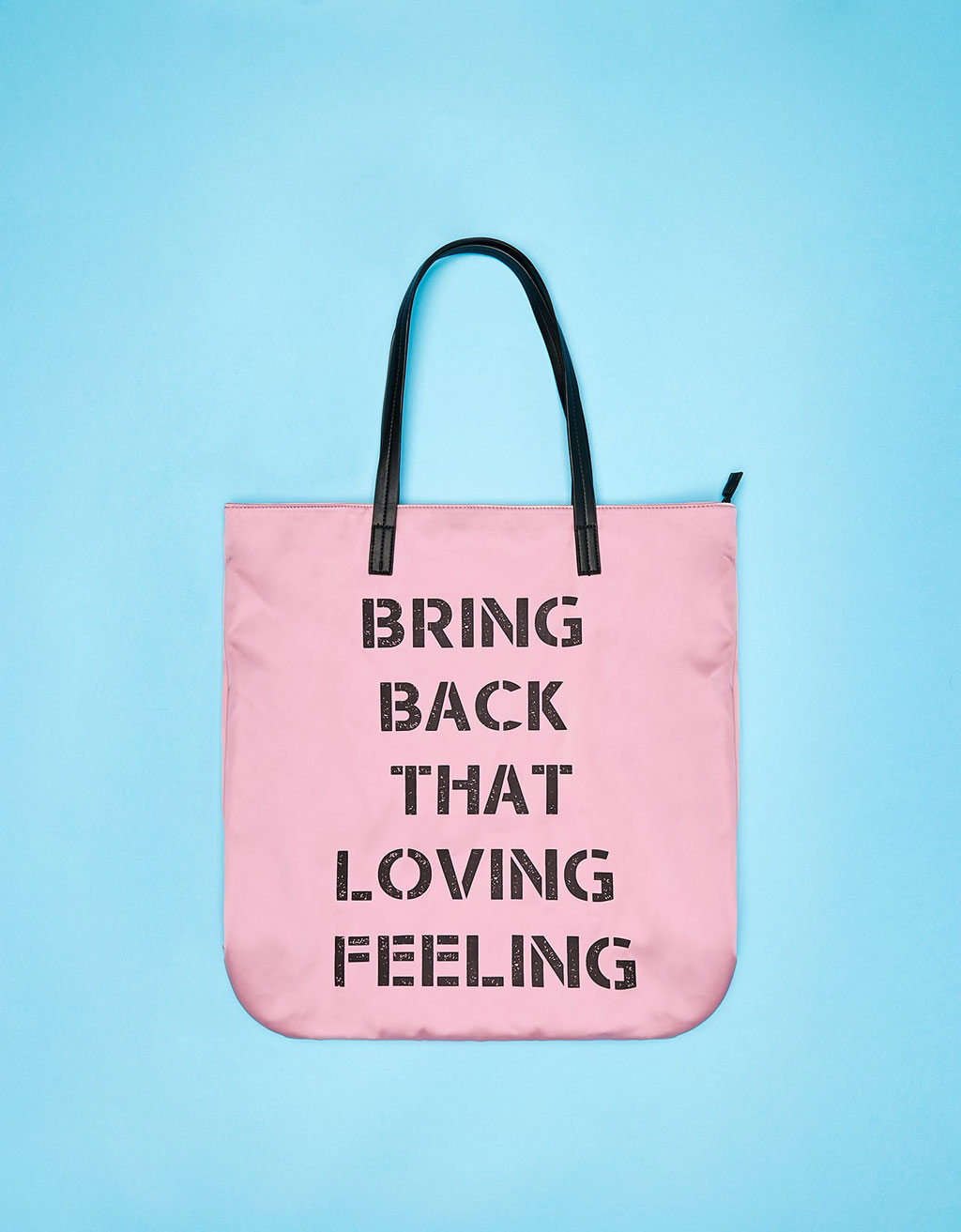 Large satin text tote bag