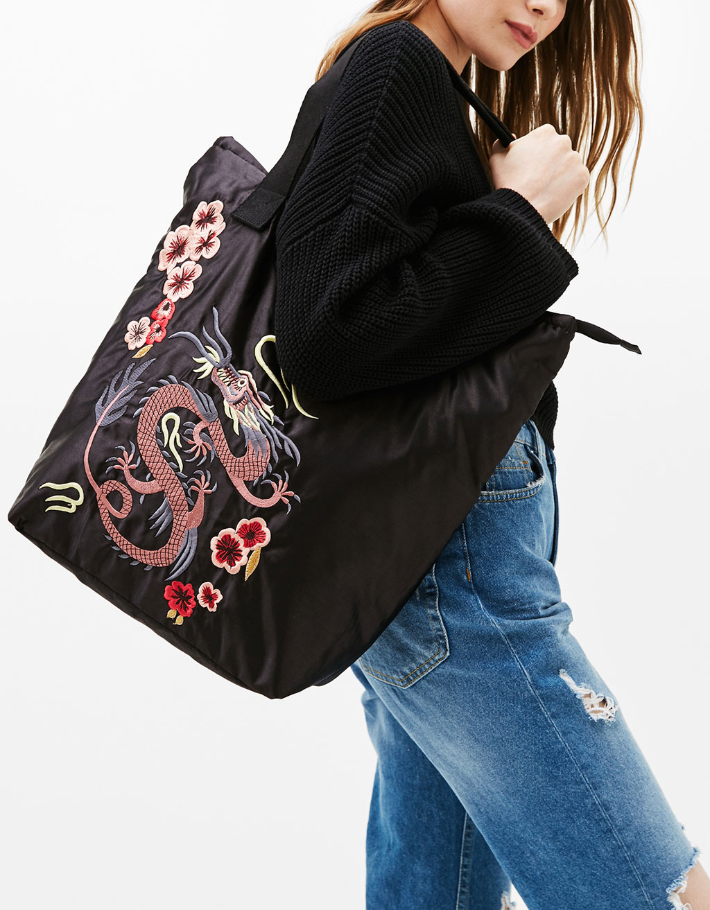 Sateen tote with Dragon embroidery