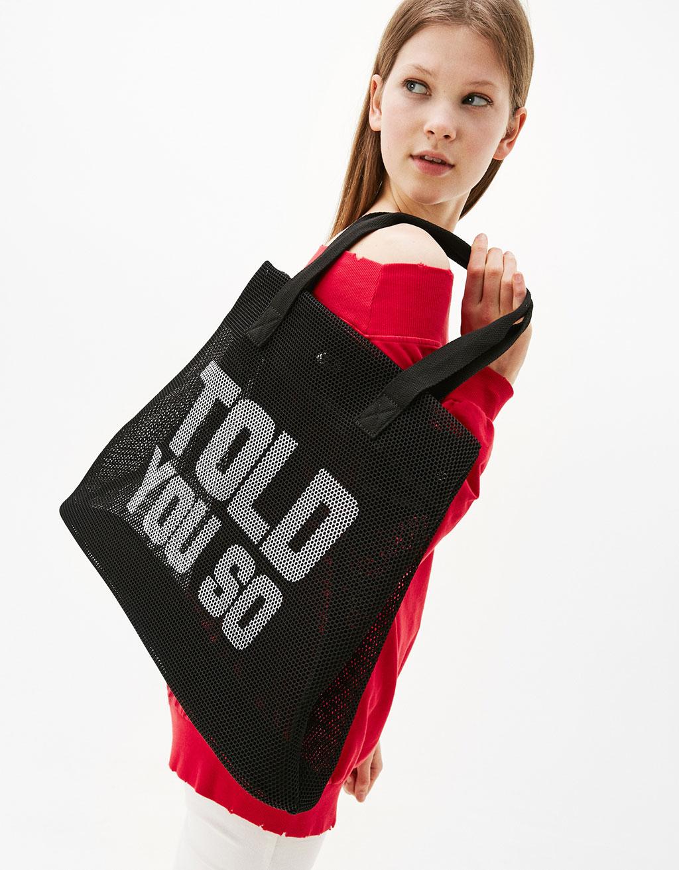 Tote bag with printed slogan
