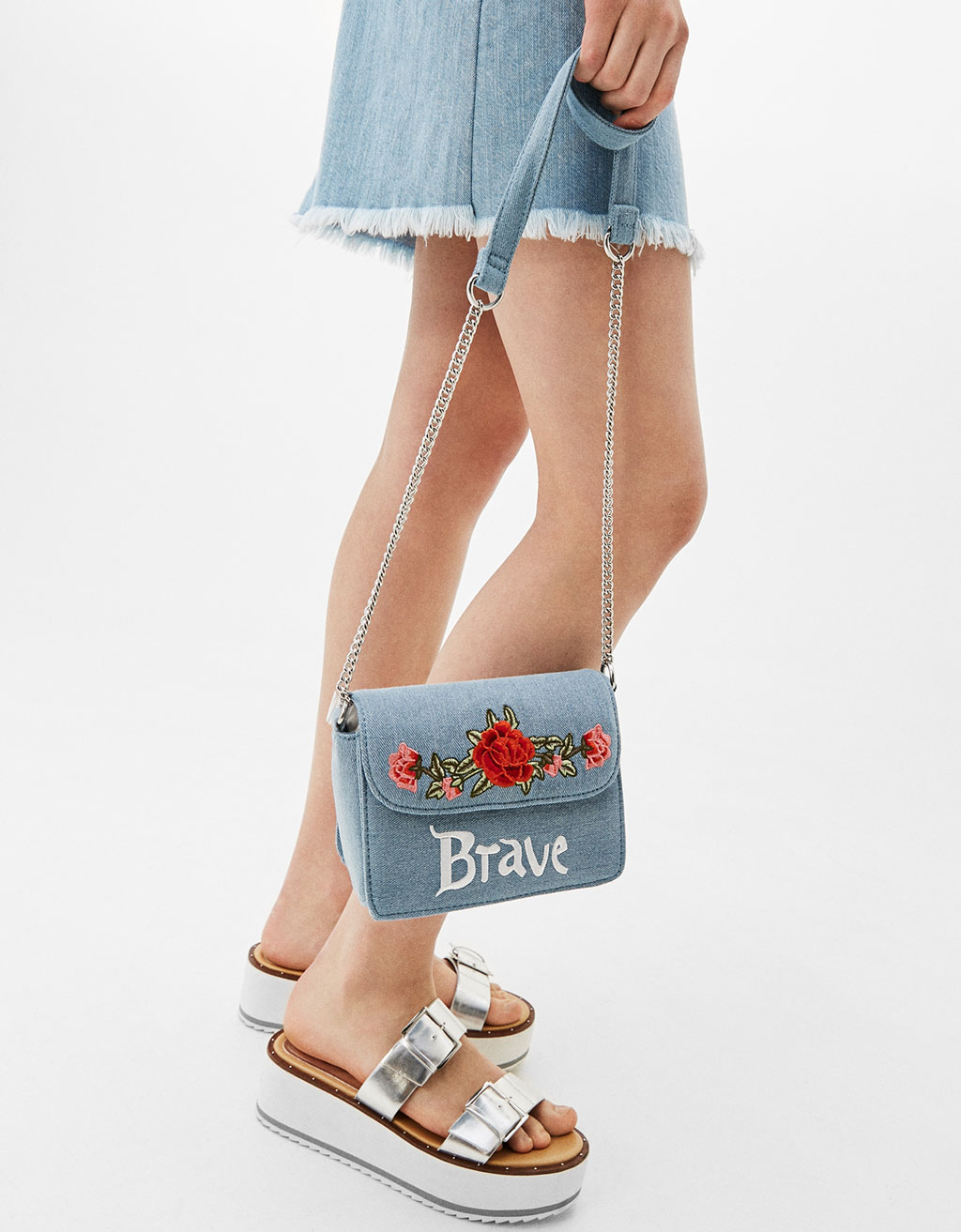 Small embroidered denim bag