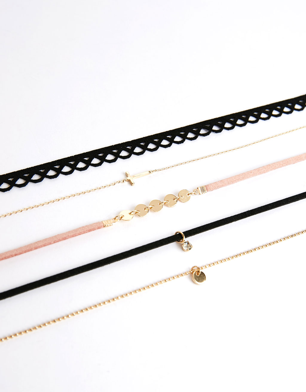 Set 5 collares choker cruz y brillante