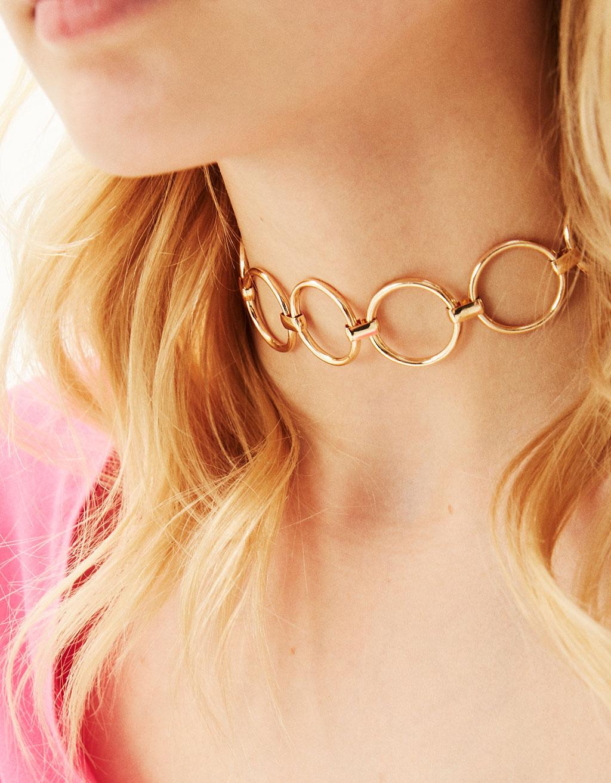 Metallic ring necklace