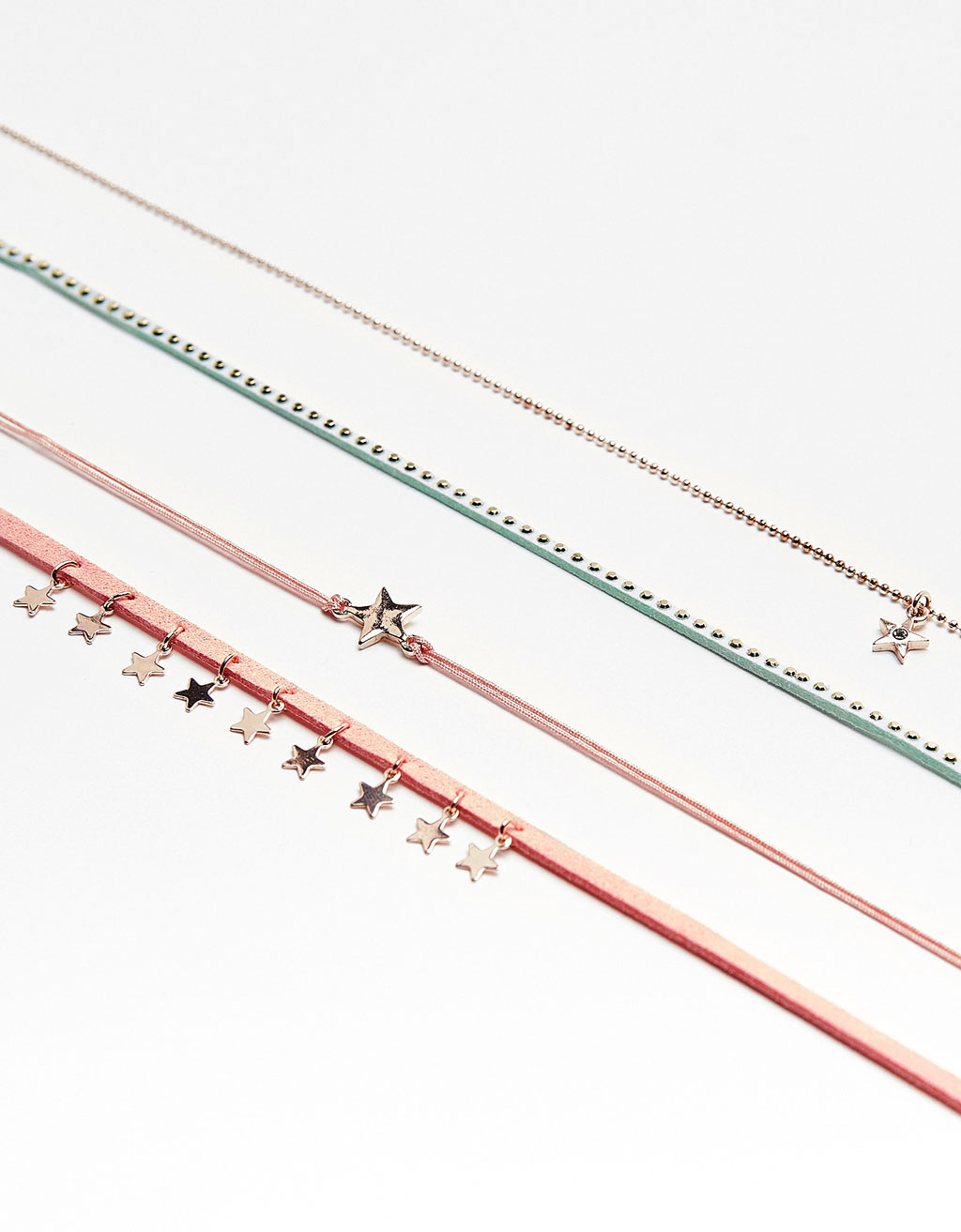 Set of 4 colorful chokers