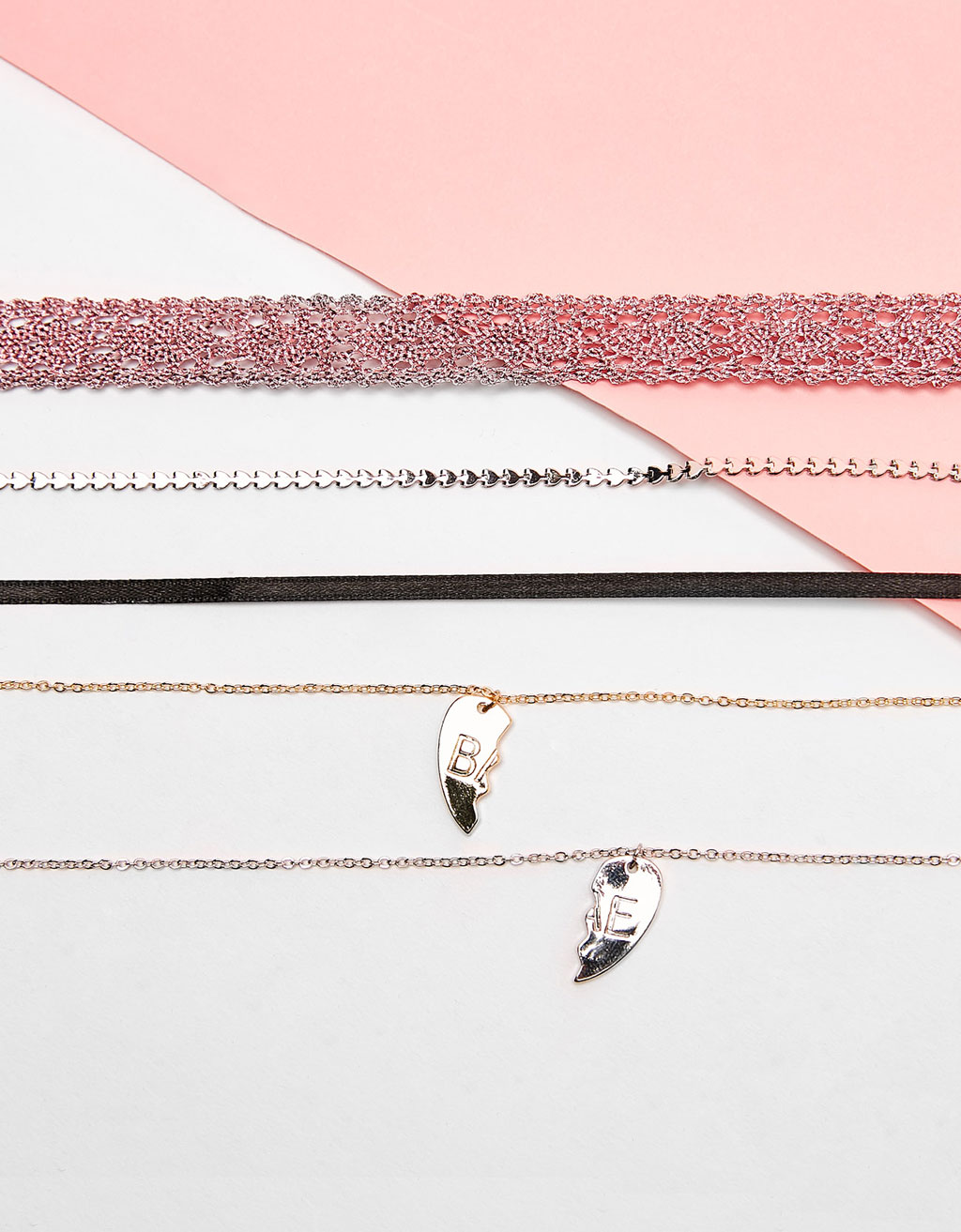 Set of 4 'BAE' heart chokers