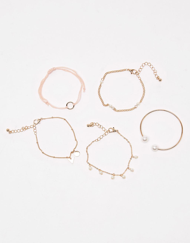 Komplet 5 bransoletek Friendship z perłą