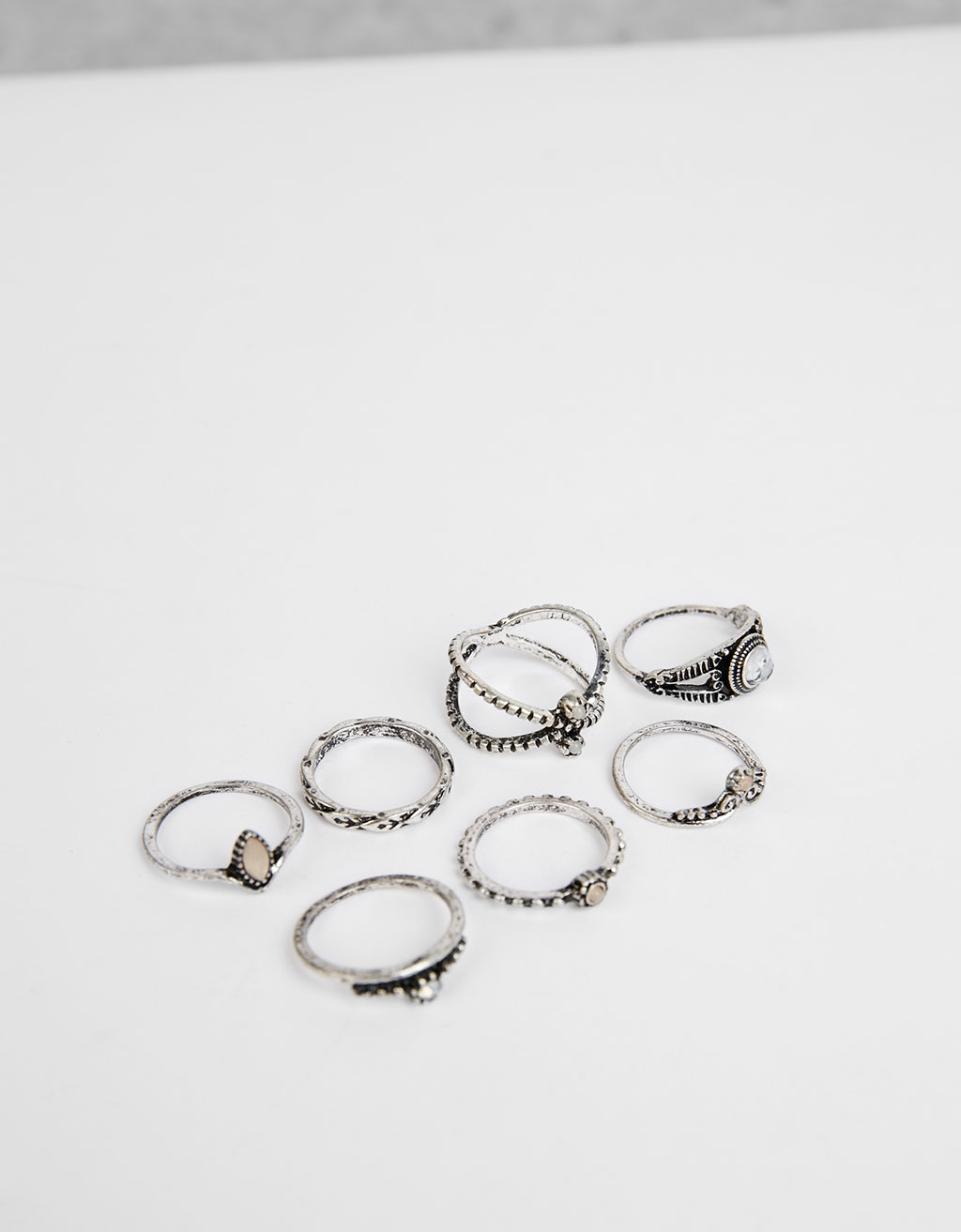 Set of thin boho rings
