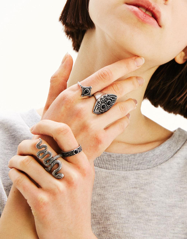 Set 4 anelli bohémienne serpente