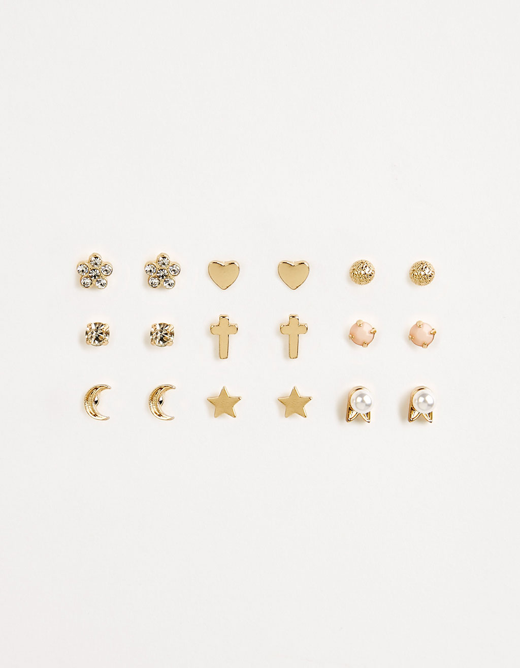 Set of 9 romantic minimalist earrings