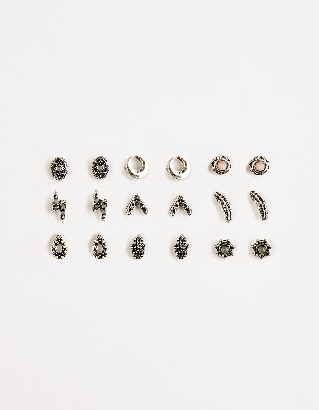 Set of 9 boho minimalist earrings