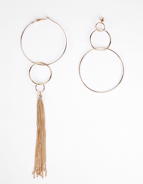 Boucles d'oreilles avec anneaux et chaînes