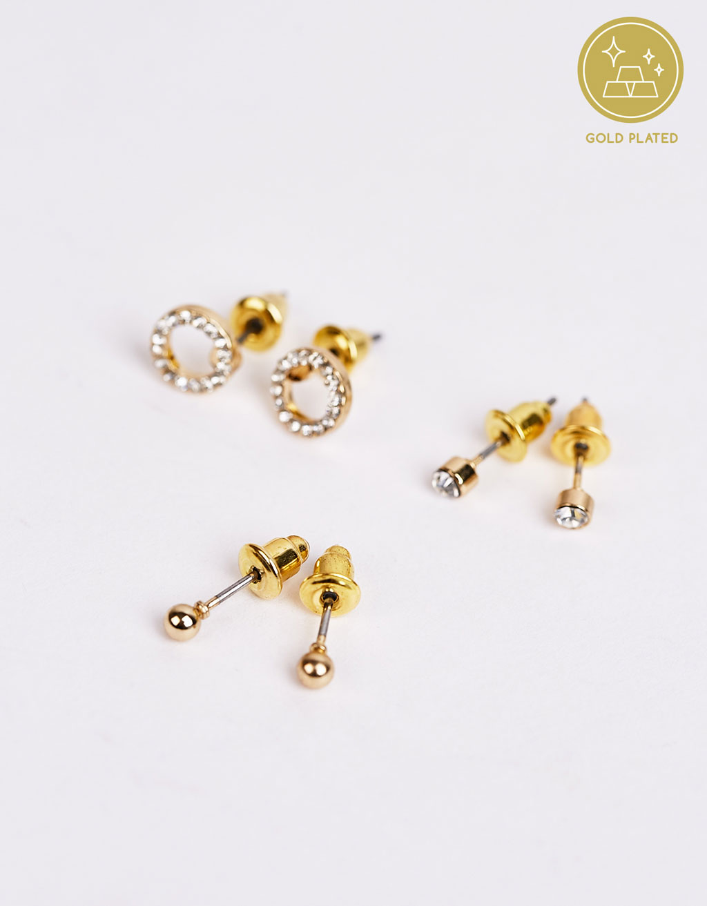 Set of 3 minimal golden earrings