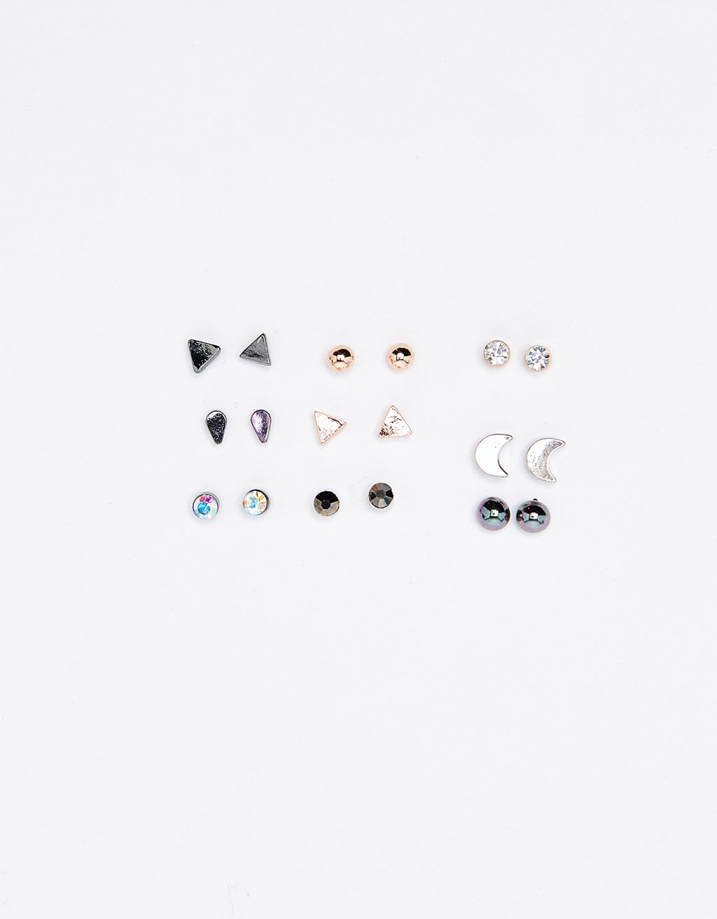 Set of 9 minimalist earrings