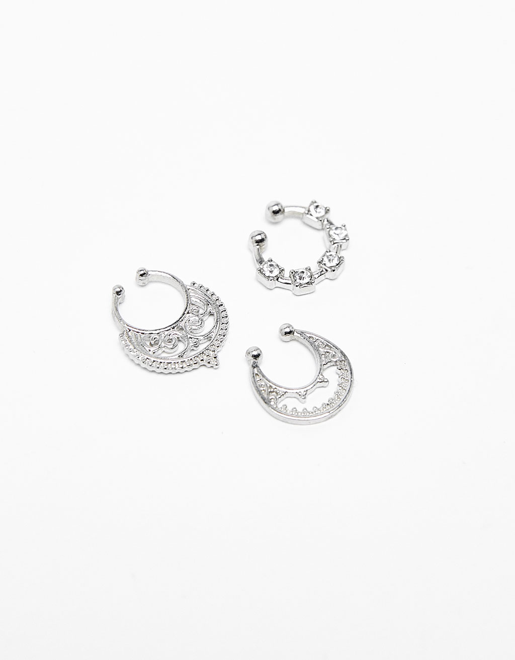 Set of 3 silver-colored nose rings