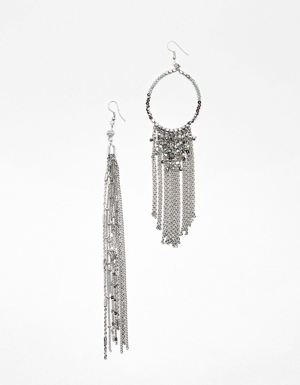 Boucles d'oreilles Mix&Match chaînes et perles