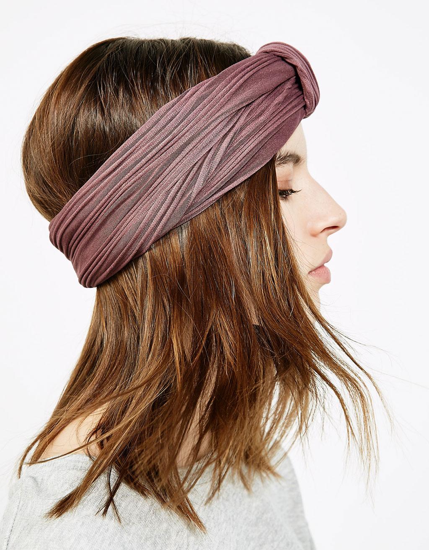 Szeroka opaska typu turban z fakturą