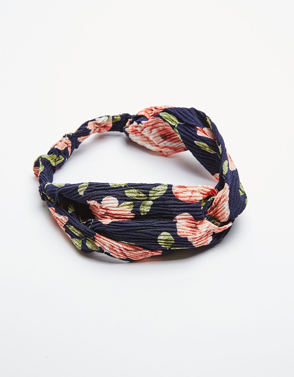 Textured turban-style headband with floral print