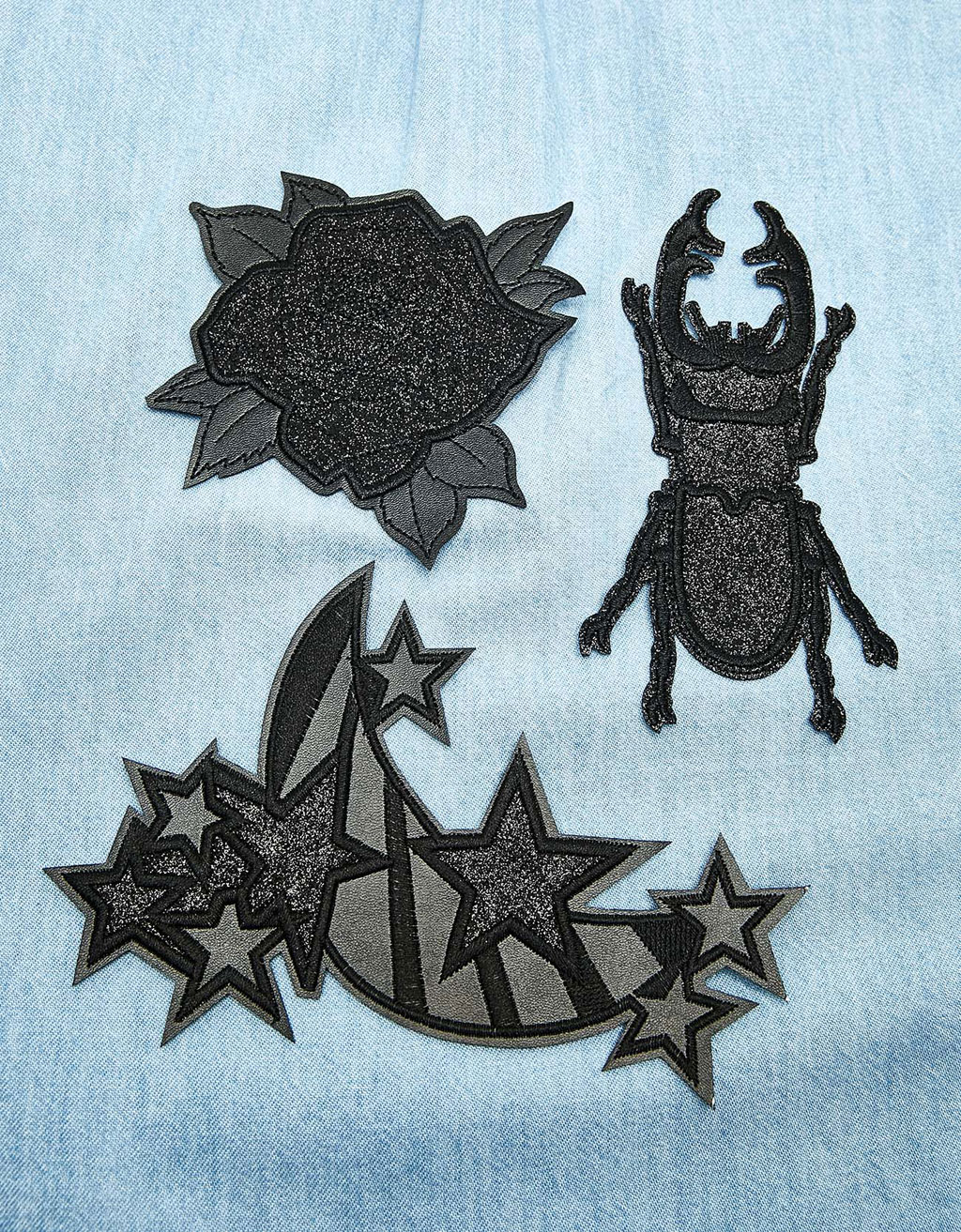 Set of black patches