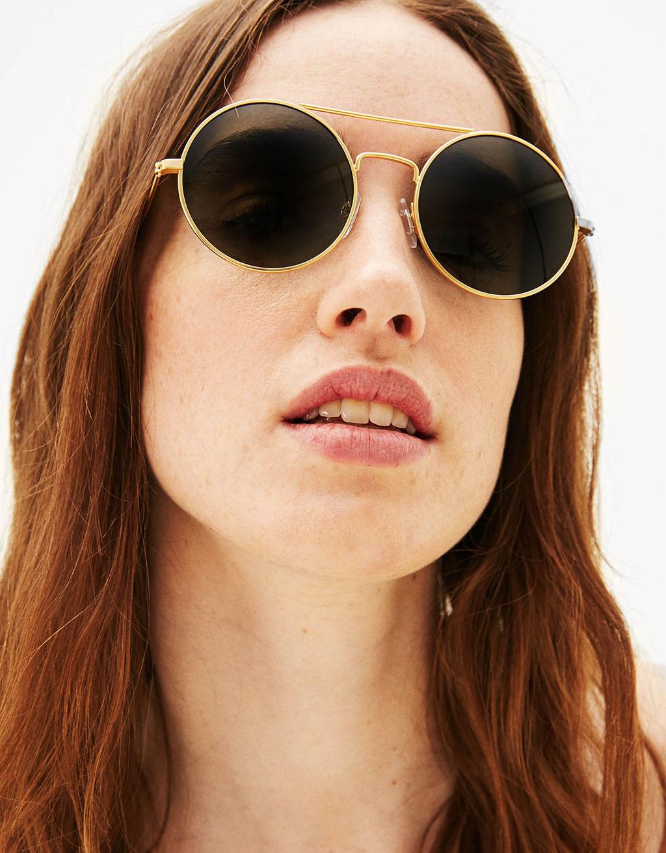 Okrągłe okulary przeciwsłoneczne w jednolitym kolorze