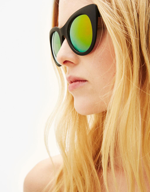 Cat-Eye Sonnenbrille mit Spiegelgläsern