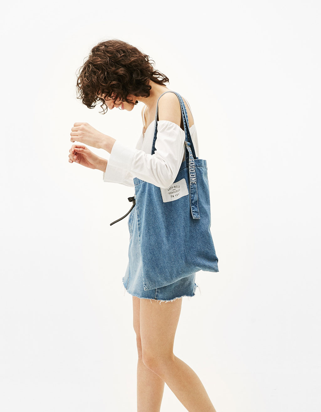 Denim shopping bag