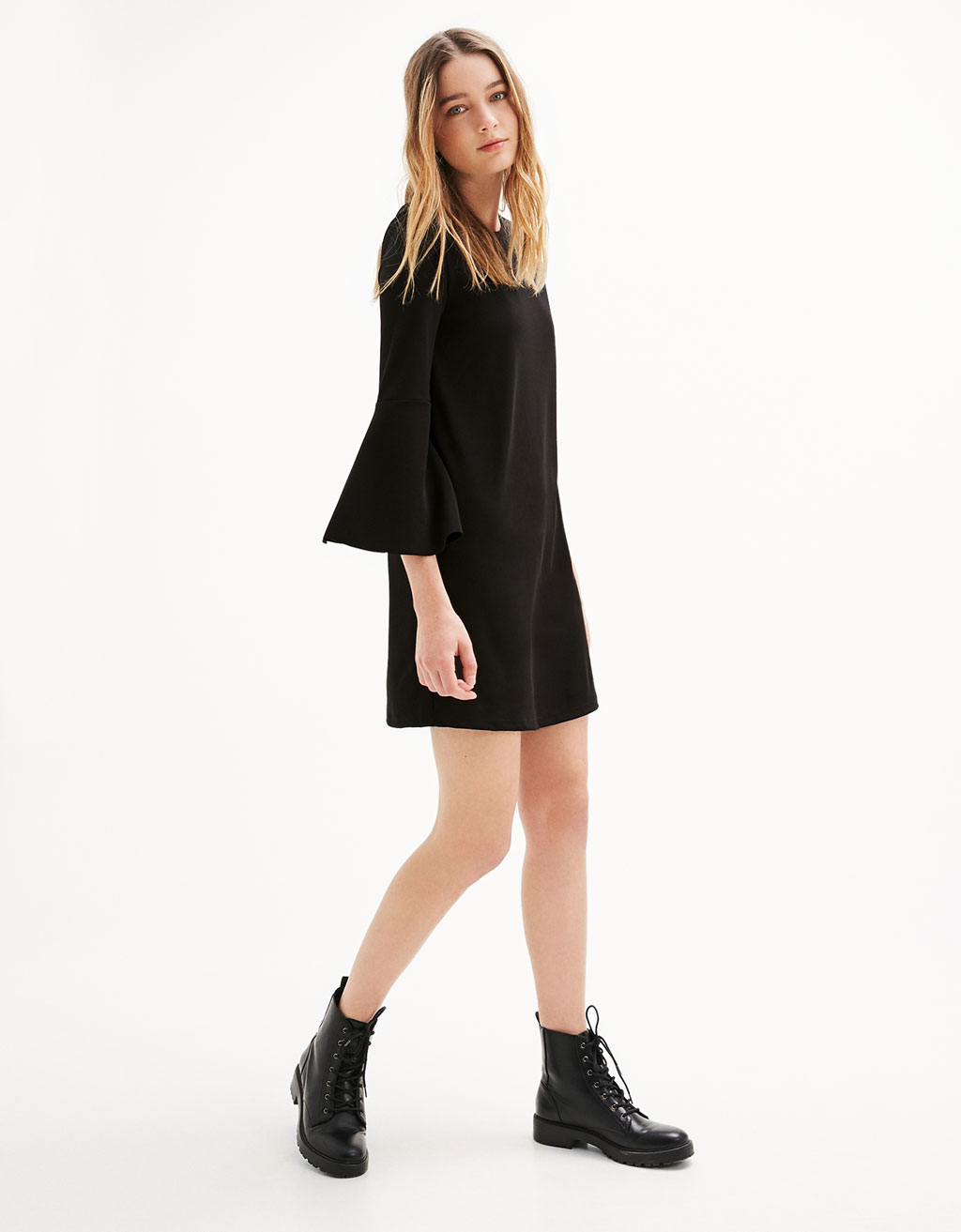 Babydoll ponte di roma dress with flared sleeves