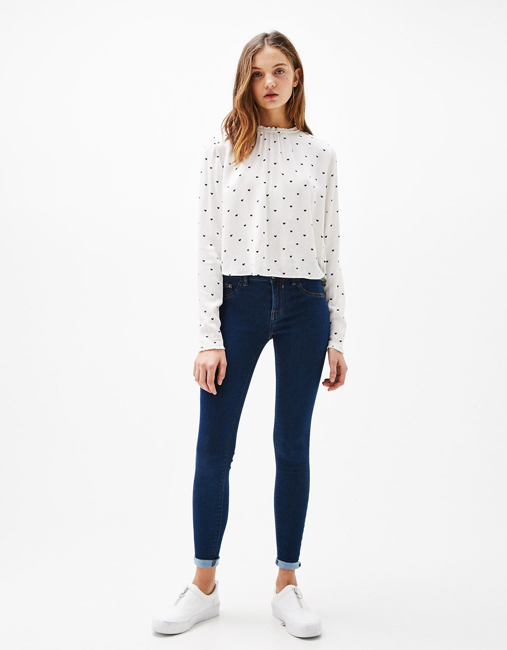 BSK collar top with gathered cuffs