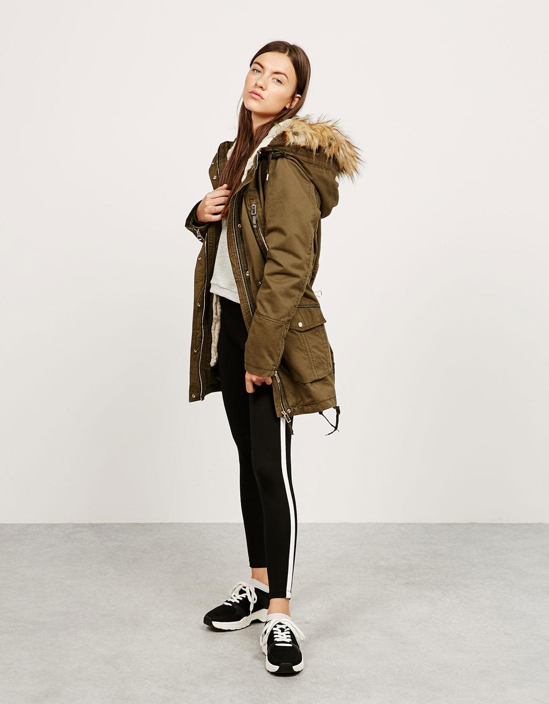 Fur and satin parka with detachable hood