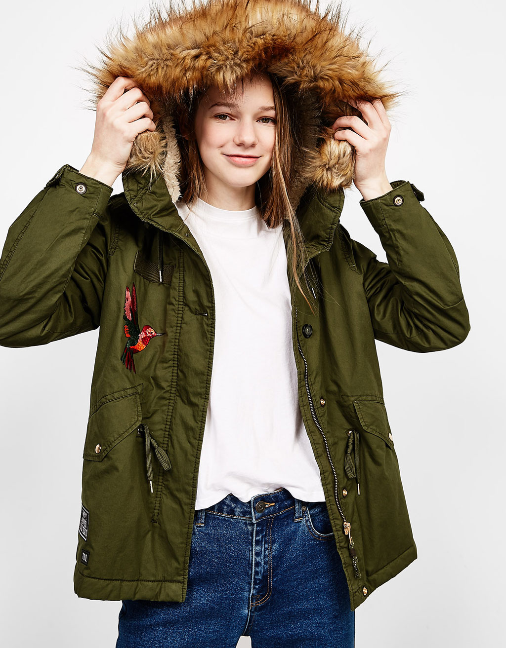 Cotton parka with detachable faux fur hood