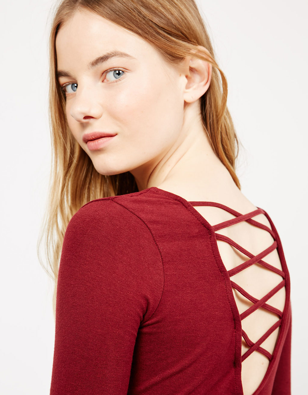 Strappy back 3/4 sleeve top