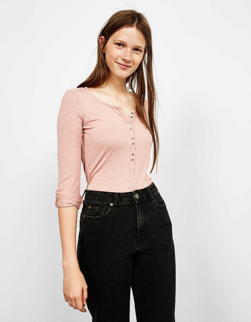 Long sleeve baker top with pocket