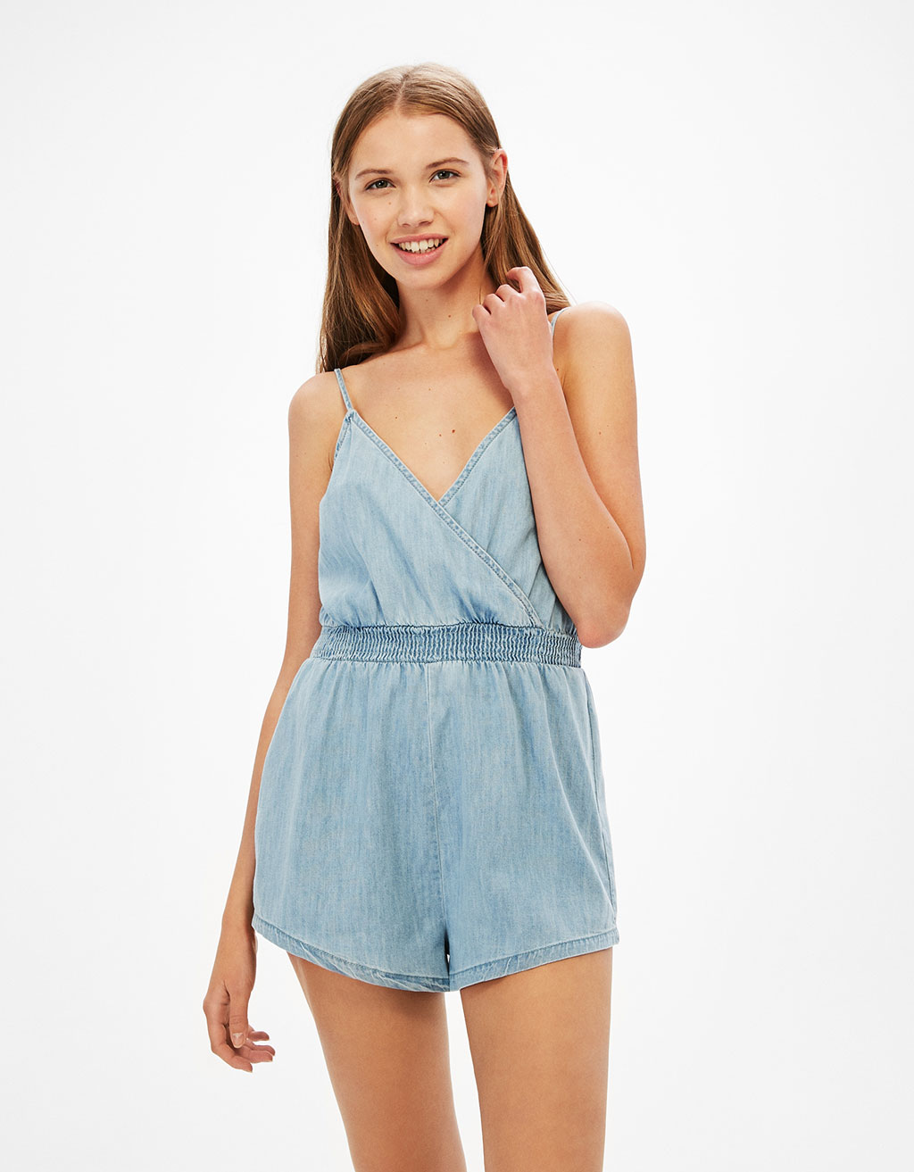 Short Tencel jumpsuit with a stretch waist