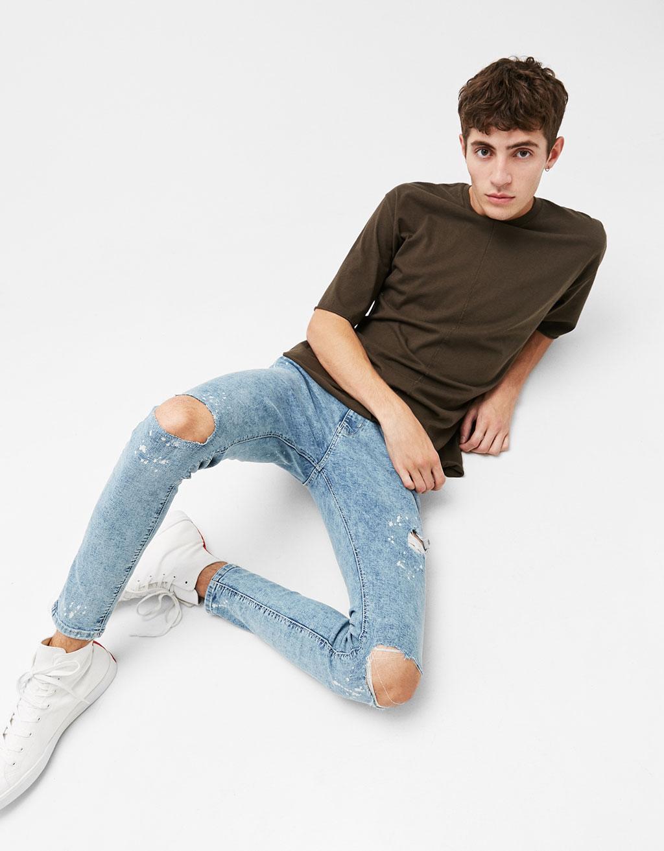 Plēsti super skinny džinsi