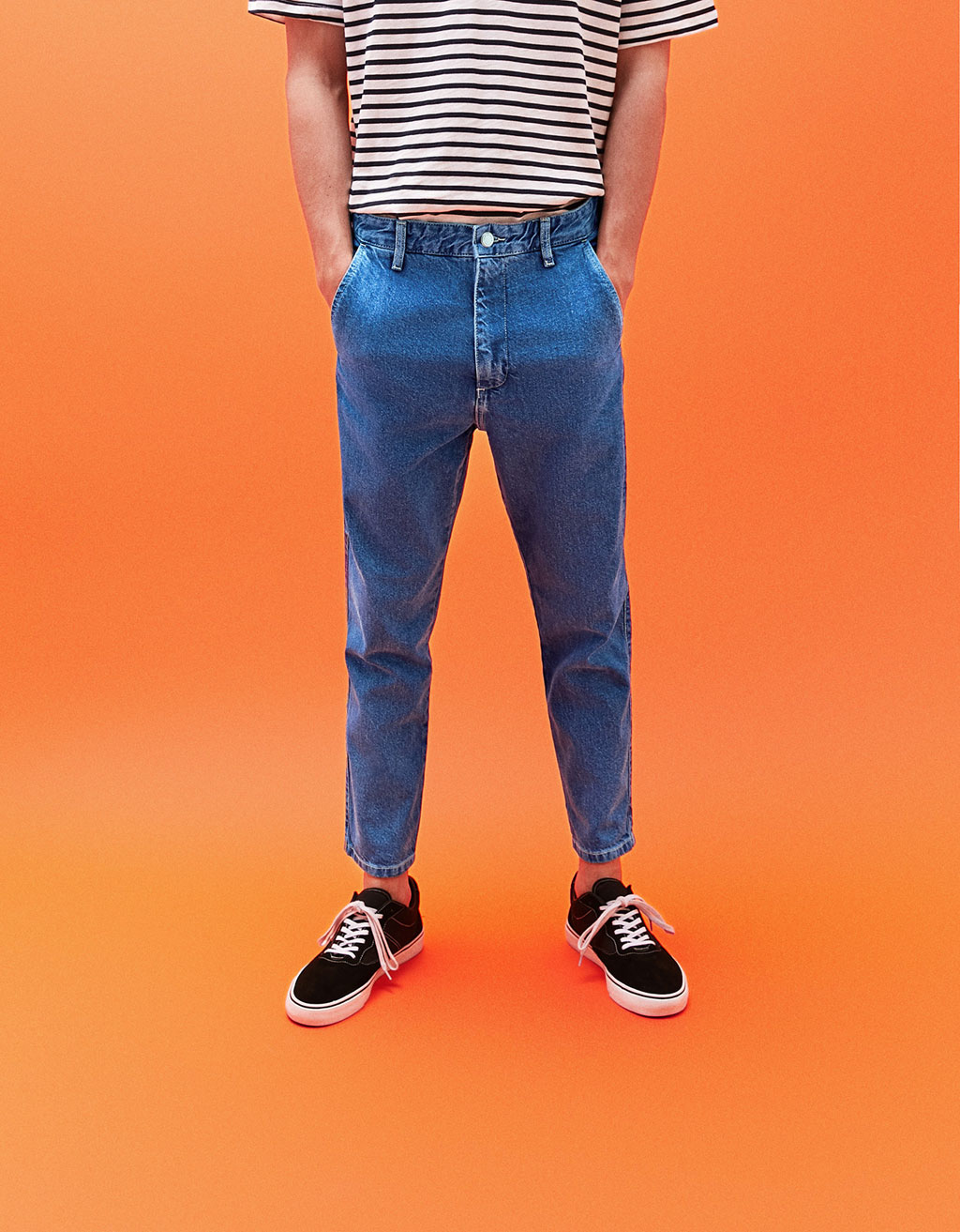 Relaxed fit denim chino trousers