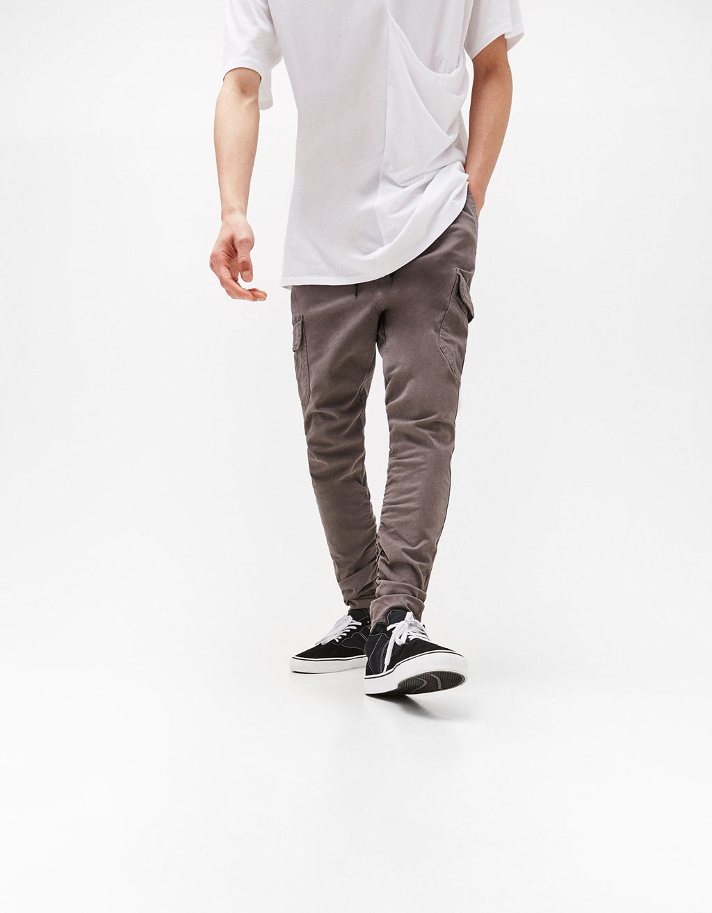 Cargo trousers gathered on the leg
