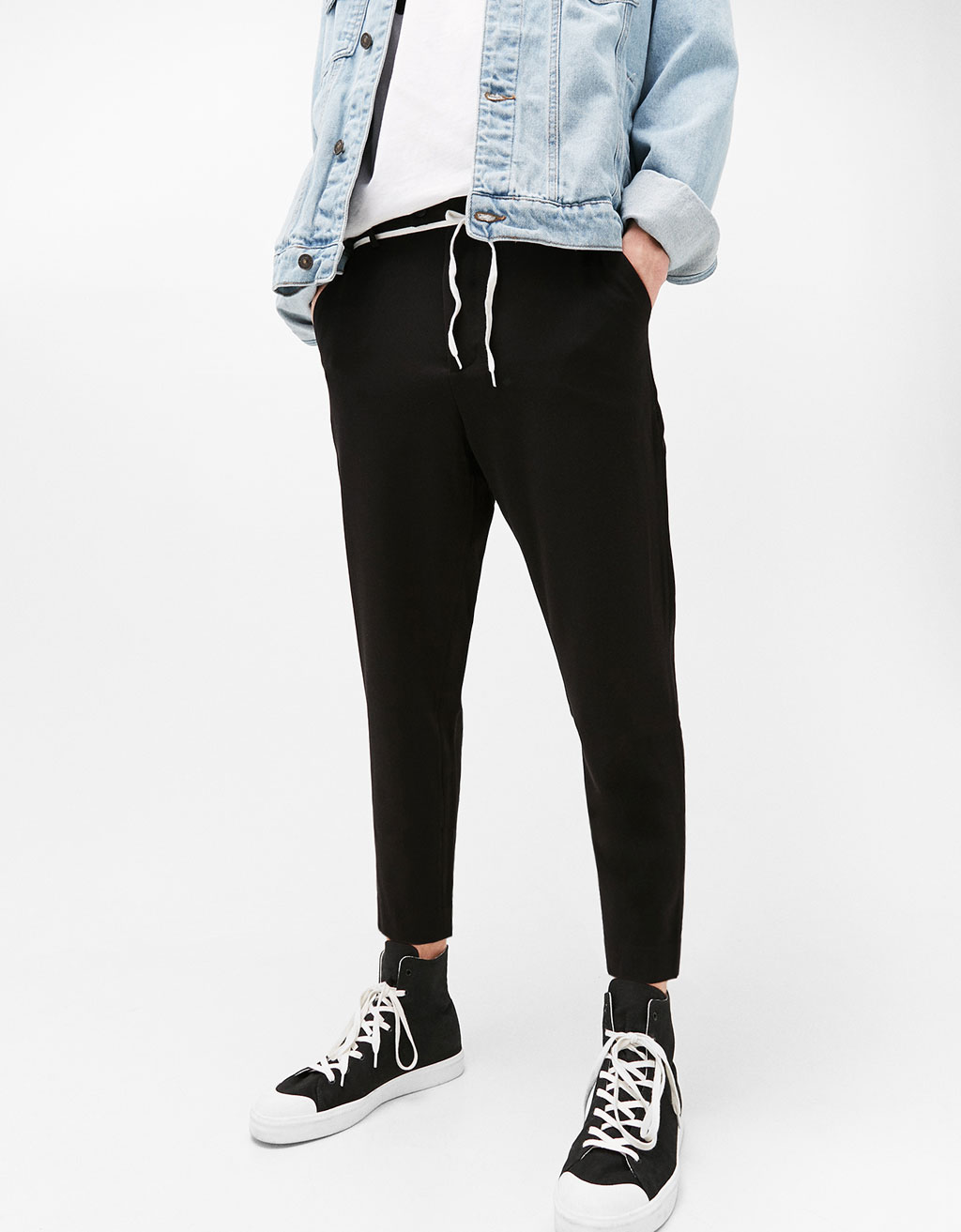 Slim cropped cool wool trousers