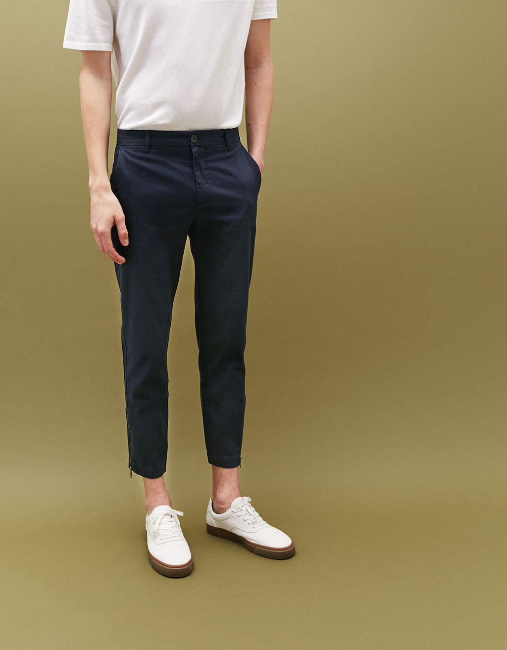 Cropped slim fit trousers with zip detail