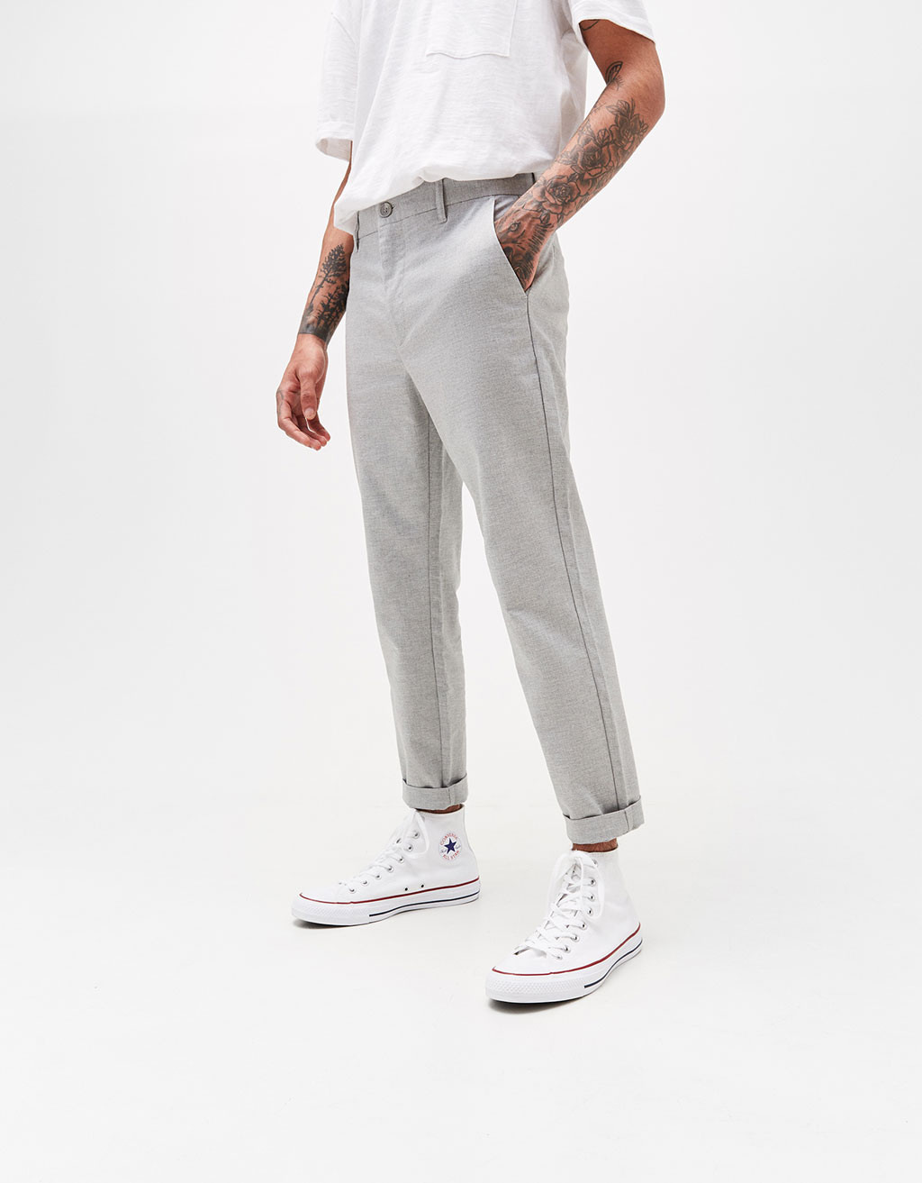 Slim Cropped cotton trousers