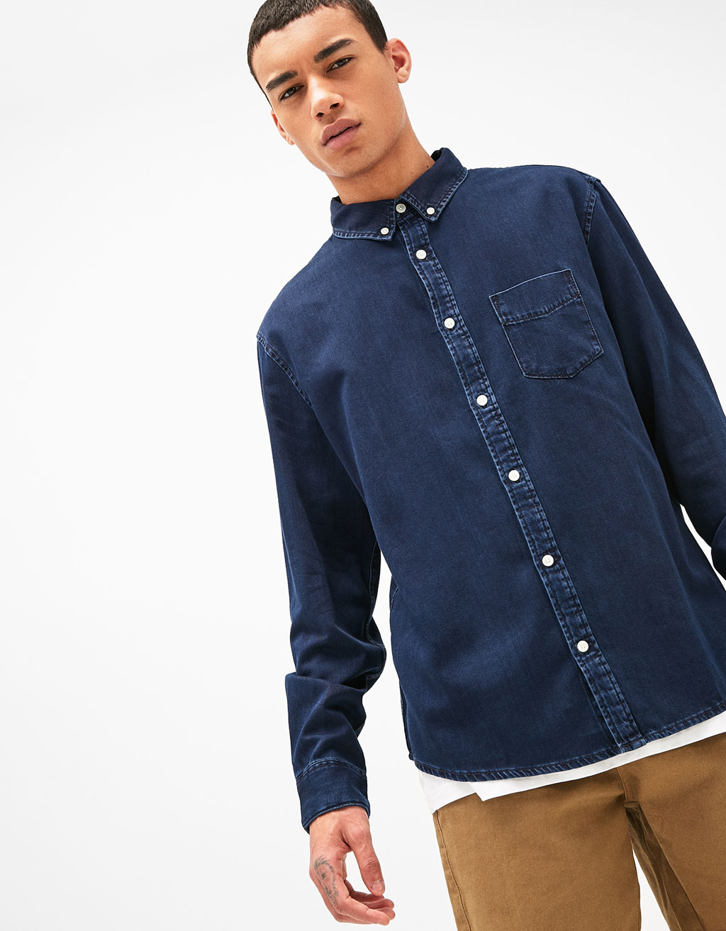Denim shirt with pocket