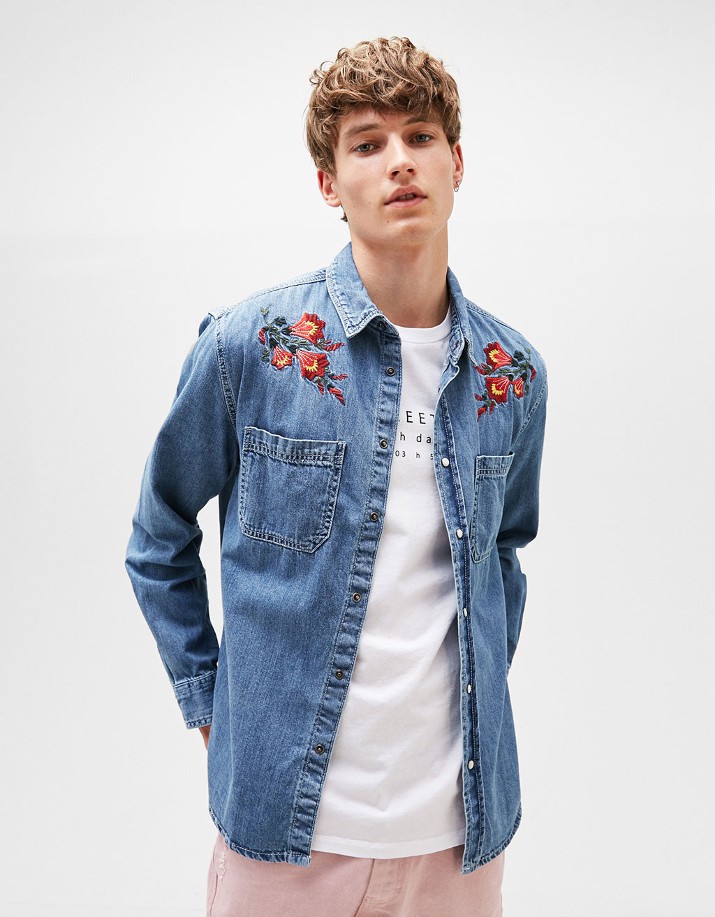 Floral embroidery denim shirt