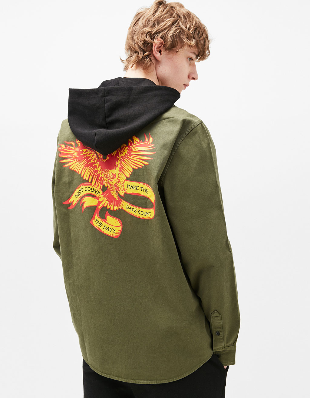 Hooded overshirt with printed back