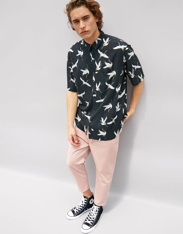 Viscose heron print shirt