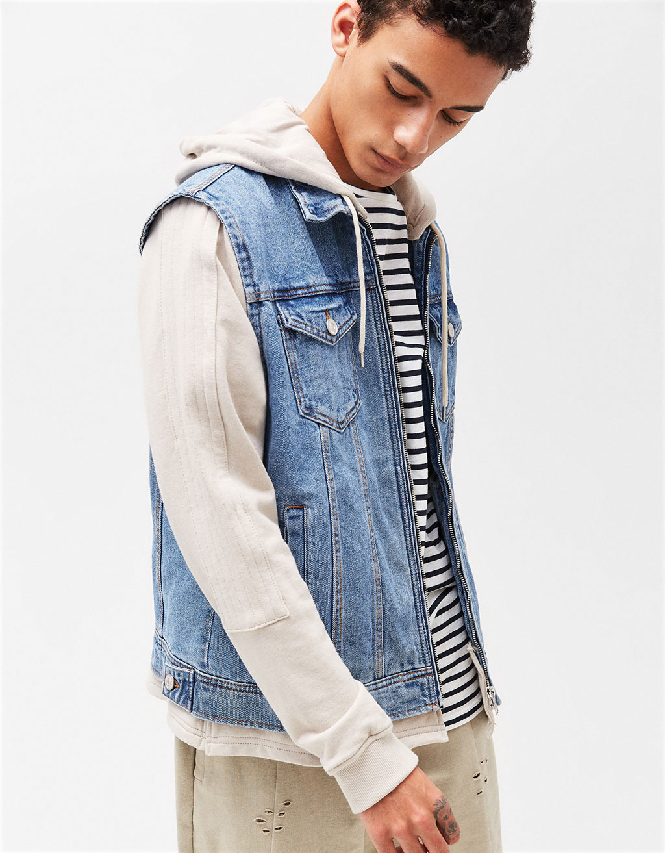 Jacket with contrast hooded sweatshirt