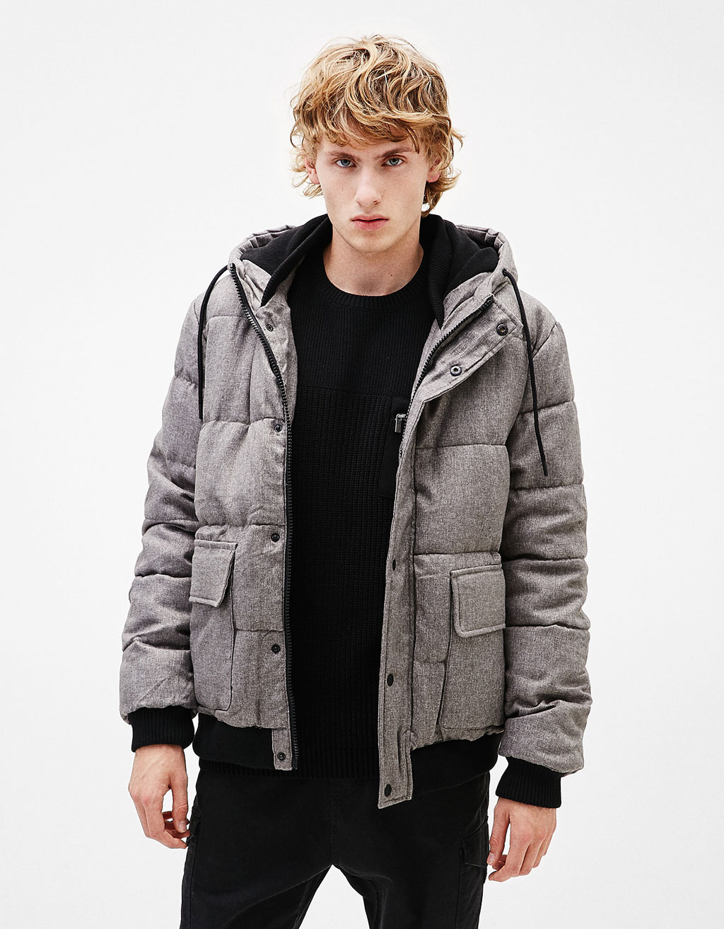 Fleecy quilted jacket