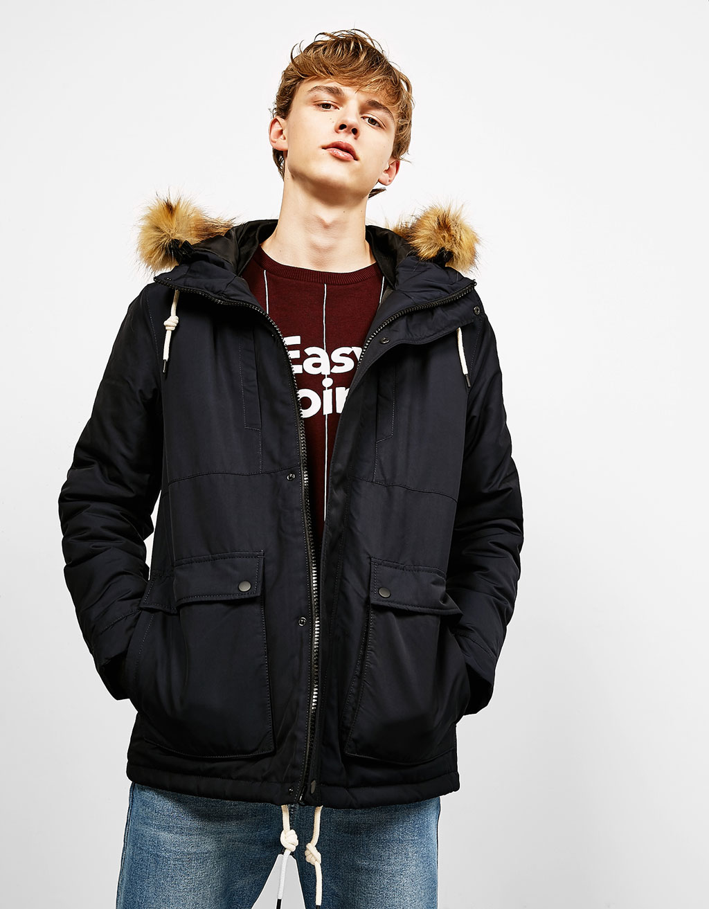 Parka-style jacket with detachable fur-lined hood