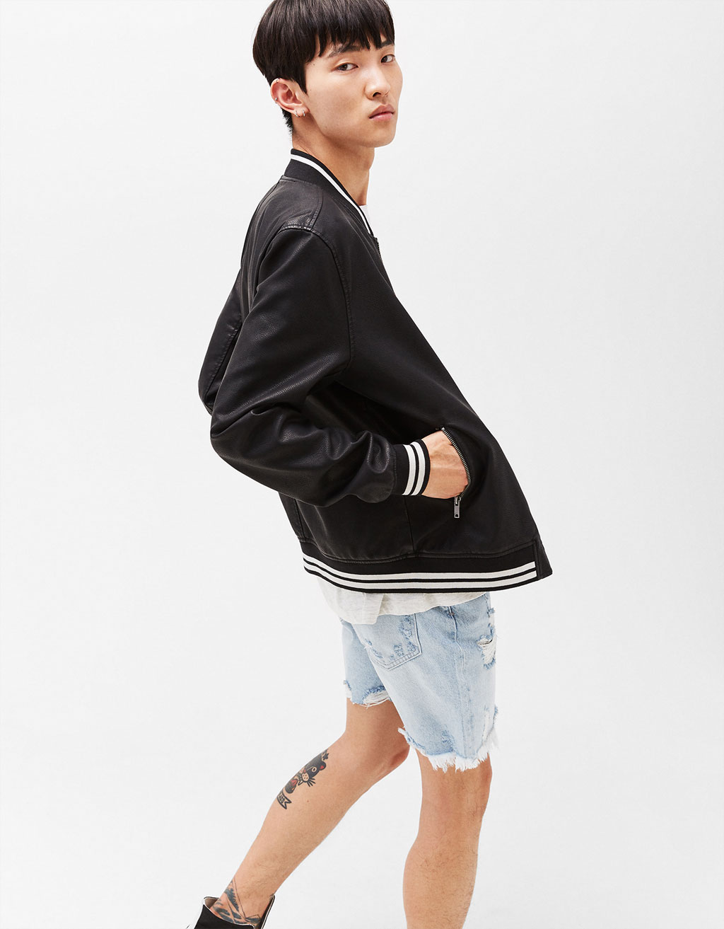 Faux leather college bomber jacket