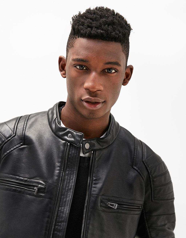 Leather-effect biker jacket