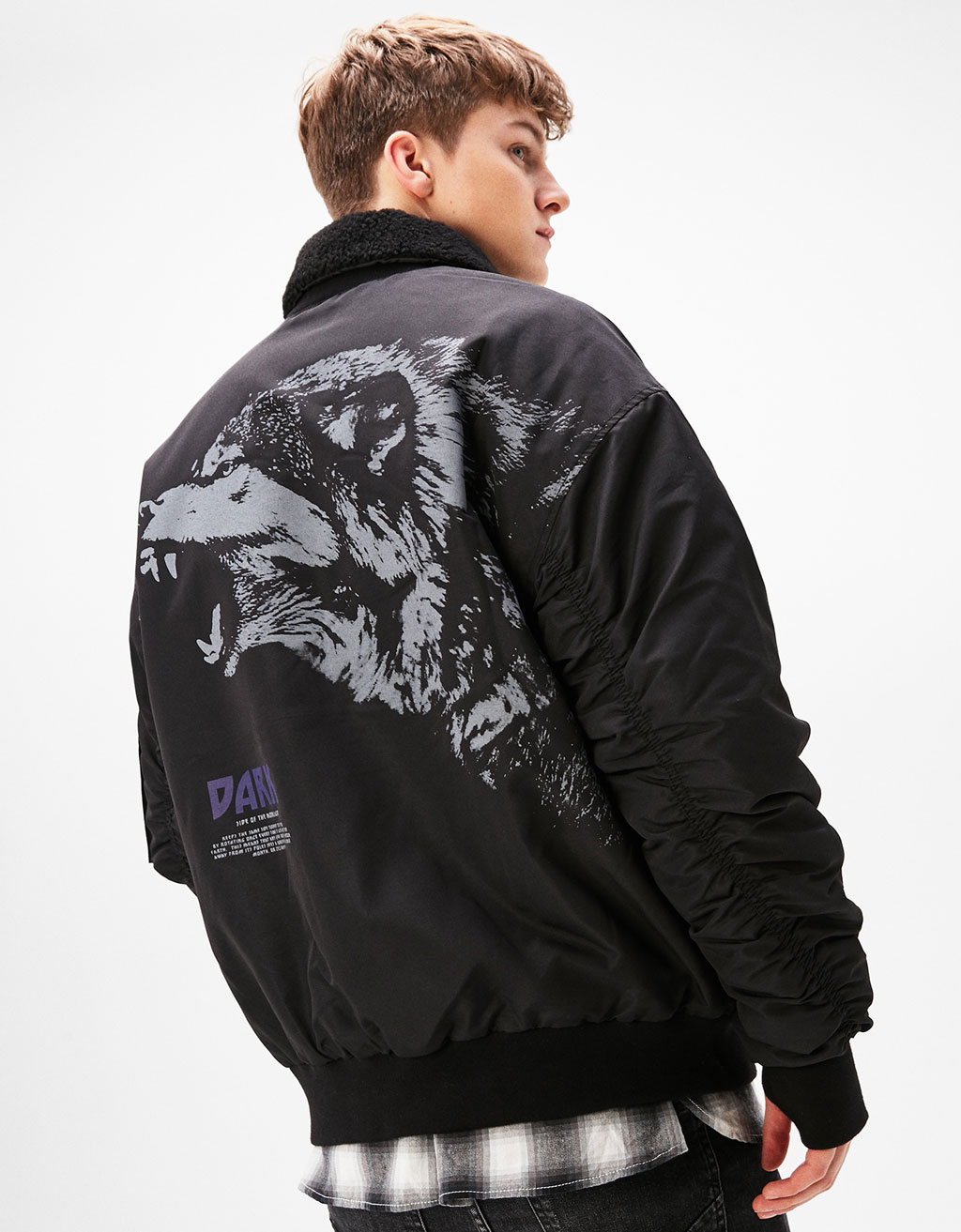 Jacket with back wolf print