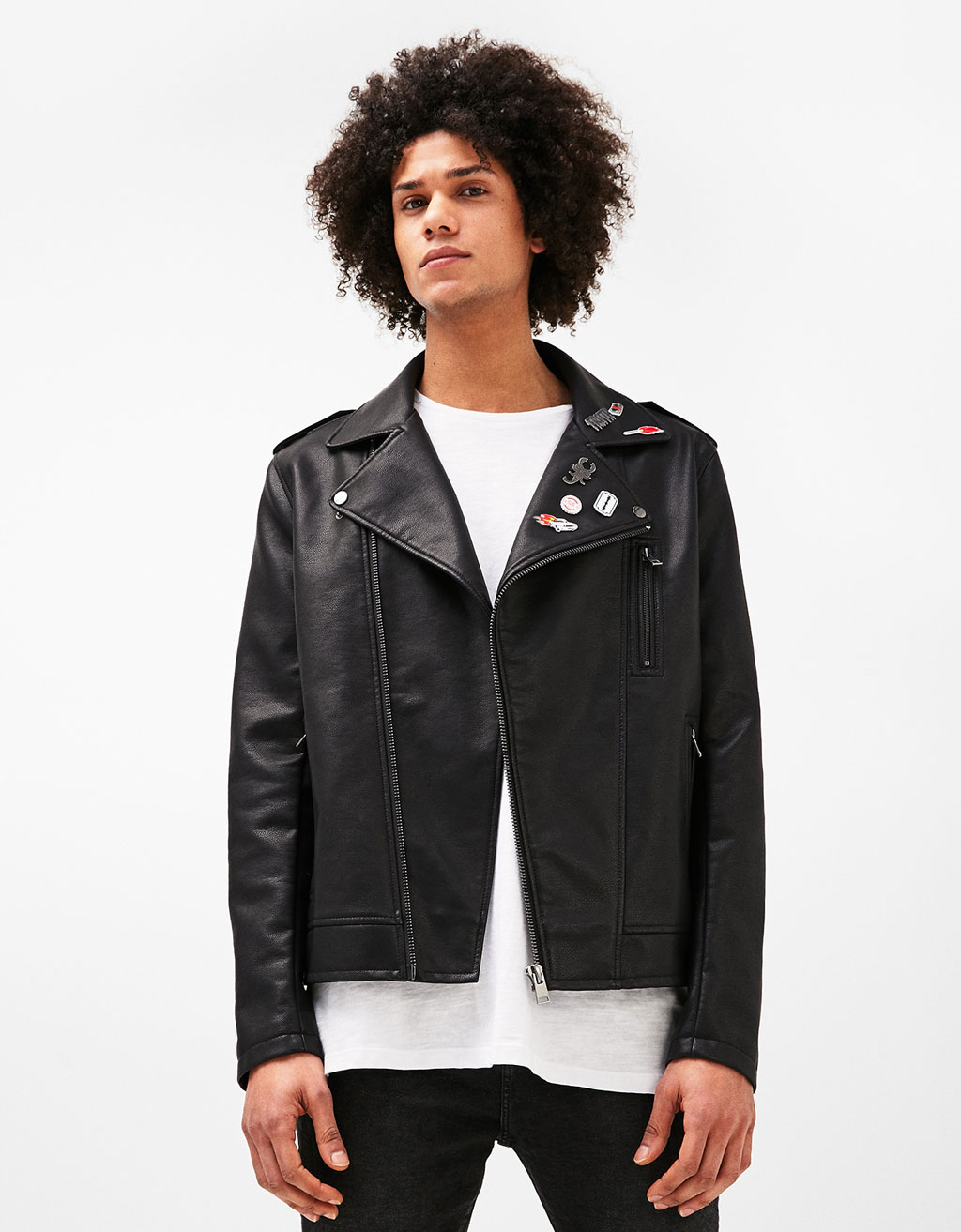 Biker jacket with badges