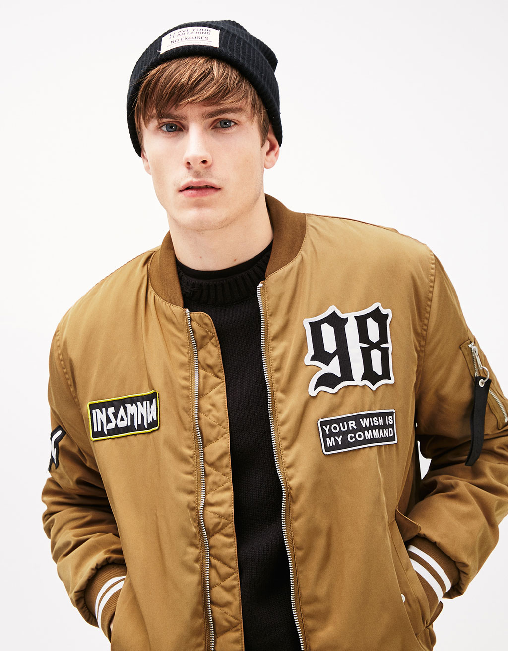 Baseball jacket with text