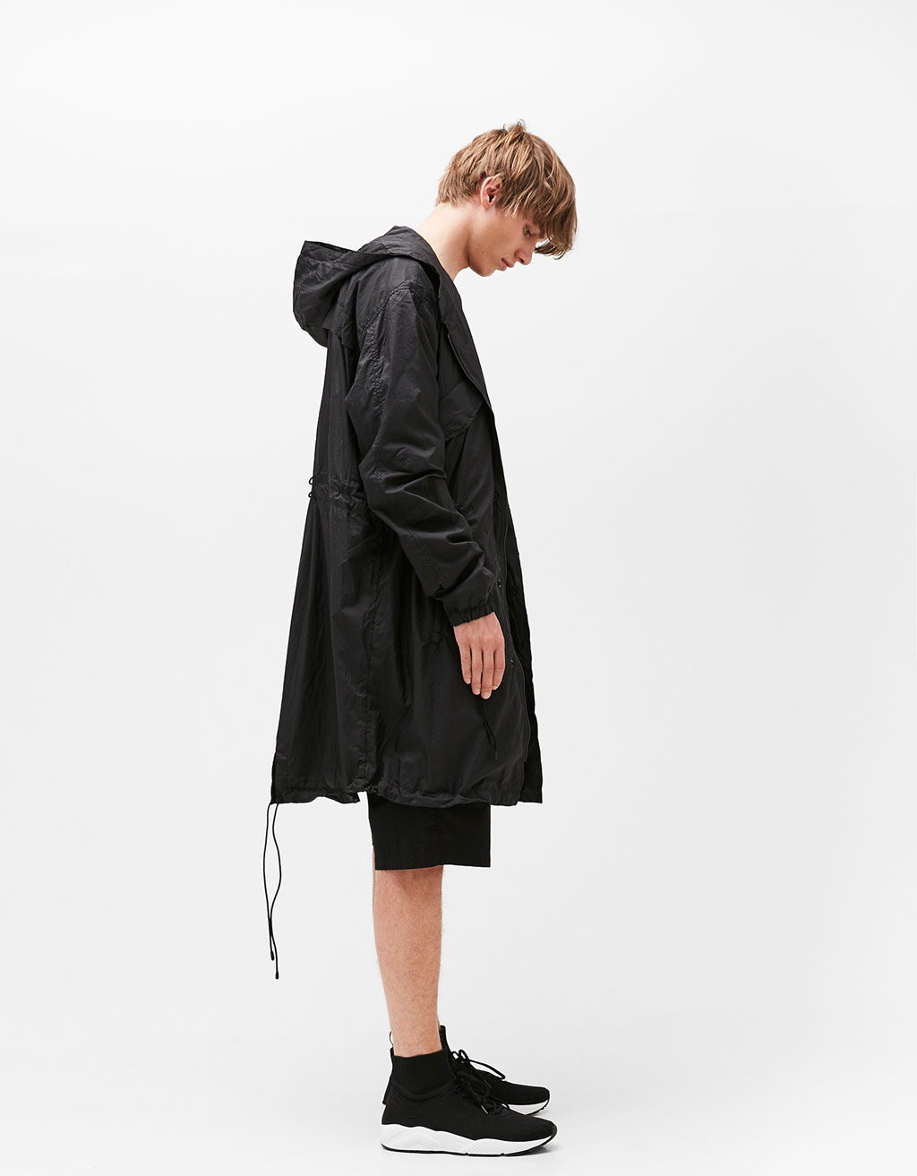 Thin black parka